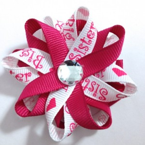 "Big Sister Pink & White 2.5"" Hair Bows - Handmade - Made To Order - No Slip Clip or Barrette"