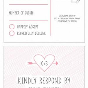 Modern Wedding Invitation and RSVP Postcard- Custom Design- Printable or Printed- Heart, Simple, Scribble, Pink