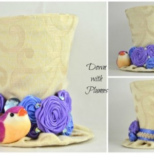 Handmade Tiny Top Hat- Free shipping- Gold, purple and blue mini top hat- Rosette hat with mushroom bird