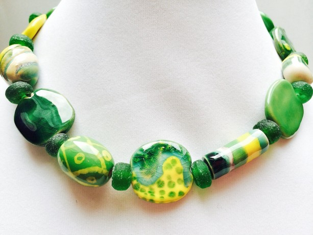 African bead necklace, colorful jewelry, African clay beads, green and yellow, chunky necklace, recycled glass