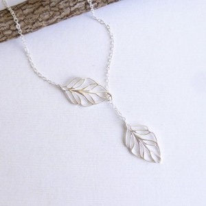 Entirely Sterling Silver Leaf Lariat Necklace