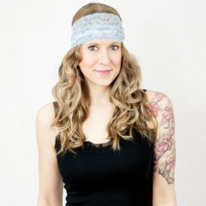Pale Blue Stretch Lace Headband, Wide Blue Boho Hair Band, Floral Paisley Stretch Hair Accessory, Yoga Running Beach Head Band