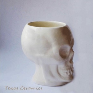 Skull Mug in White with Bone Style Handle Ceramic Pottery