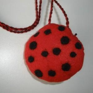 Pendant, wool felt, Ladybug necklace, needle felted necklace, statement necklace