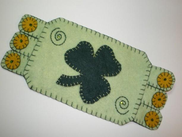 Handmade Penny Rug, Irish Mug Rug, St. Patrick's Day Mat
