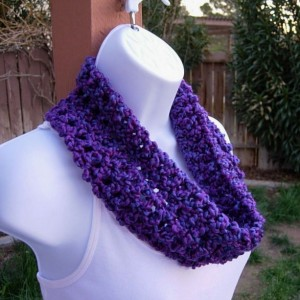 SUMMER COWL SCARF Bright Neon & Dark Purple, Blue Small Short Infinity Loop Crochet Knit Soft Lightweight Neck Warmer, Ready to Ship in 2 Days