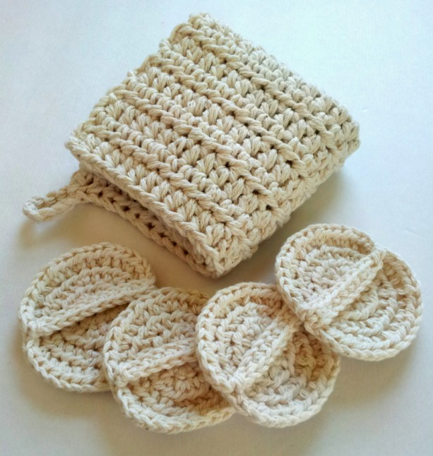 Wash cloth and scrubby set, spa set, crochet spa set, oil cleansi ...