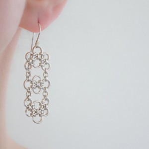 Chandelier Earrings - Argentium Sterling Silver Chainmaille - LUX Collection - nickel free