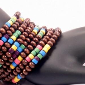 Wood Cuff Bracelet, Rainbow Wood Wrap, Wood Wrap Bracelet, Chunky Wrap Bracelet