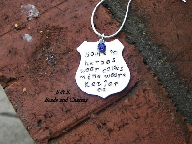 Officer Wife Charm My Hero Wears Kevlar Custom Stamped Personalized