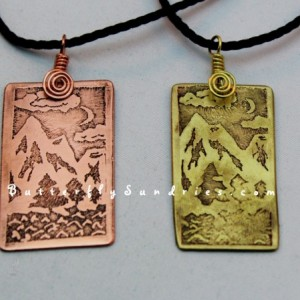 Nighttime Mountain Pendant - Beautiful World Collection - Available in Copper or Brass