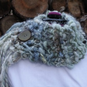 Chunky Knit Cowl: handspun wool & mohair// hand dyed//knit neckwarmer with handcut wooden button