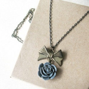 Long Gray Flower Necklace Rose Pendant Necklace Vintage Inspired Jewelry For Women