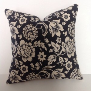 """Hand Embroidered Throw Pillow Cover - Flip side is a Black and Cream print - 16"""" inch cotton pillow cover with a zipper"""