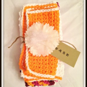 hand towels, washcloths, orange washcloth, crochet washcloths, handmade hand towels, set of 3 towels, kitchen towels, bath towels