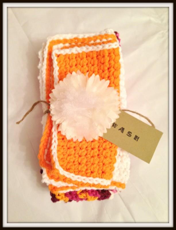 hand towels, washcloths, orange washcloth, crochet washcloths, handmade hand towels, set of 3 towels, kitchen towels, bath towels