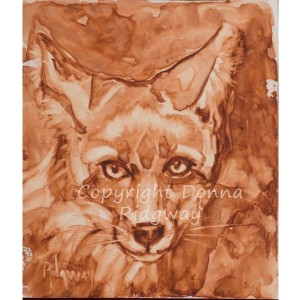 Fox wildlife painting, original fine art wall decor, sienna monotone