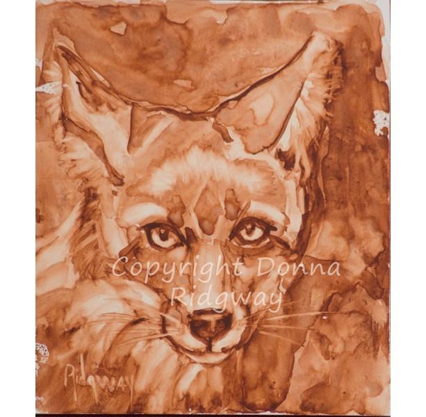 Fox wildlife painting, original fine art wall decor, sienna monotone