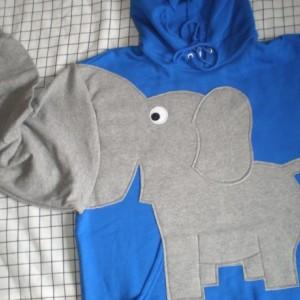 Elephant Sweatshirt, trunk sleeve, Elephant HOODIE, elephant sweater, jumper, Royal Blue, Adult size Large elephant shirt.