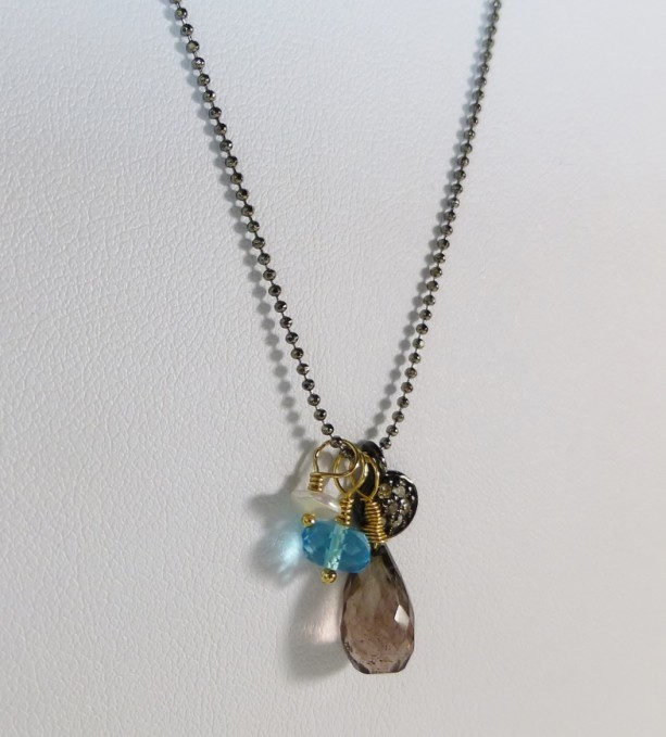 Diamond Sparkling Gemstone Charm Necklace,charm necklace, gemstone charm, diamond, gunmetal,diamond necklace, customize, sara nolte design