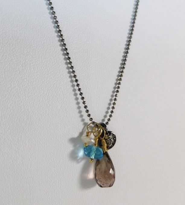 Diamond Charm Necklace,diamond necklace, gemstone necklace,charm necklace,gunmetal, gold necklace,diamond charm,gemstone charm,swiss blue