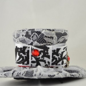 SALE- Handmade Teeny Tiny Top Hat- Lace mini top hat- Black, white and red mini top hat with Swarovski Crystals- FREE SHIPPING