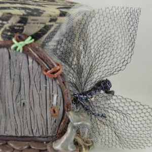 One of a Kind Tiny Top Hat- Dark Mystical Fairy Hat- Handmade hat, rosettes and fairies on pins, headband or comb