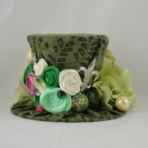 Handmade Tiny Top Hat on Headband- Mini top hat - Beautiful garden tiny top hat- FREE SHIPPING