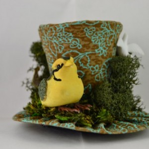 Handmade Tiny Top Hat- Garden themed mini top hat- Tiny top hat with mushroom bird- FREE SHIPPING