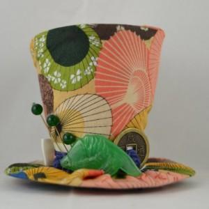 Tiny Top Hat- Parasol fabric- Mini top hat- Jade tiny top hat- One of a kind tiny top hat- FREE SHIPPING