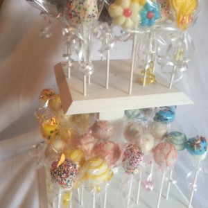 Cake pop wood stand two tiers white- - holds approx 50 pops - party