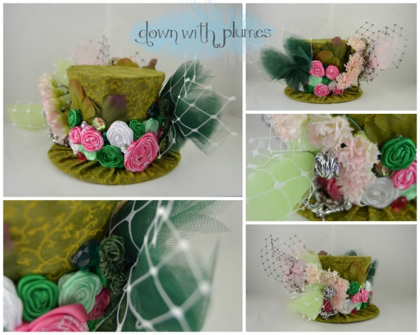 One of a Kind Mini Top Hat- Hide and Peek Fairy Hat- Handmade hat, rosettes and fairies on pins, headband or comb