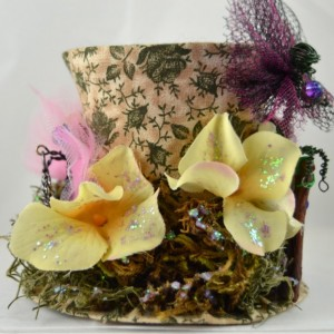 One of a Kind Mini Top Hat- Spring Fairy Hat- Handmade hat, rosettes and fairies on pins, headband or comb