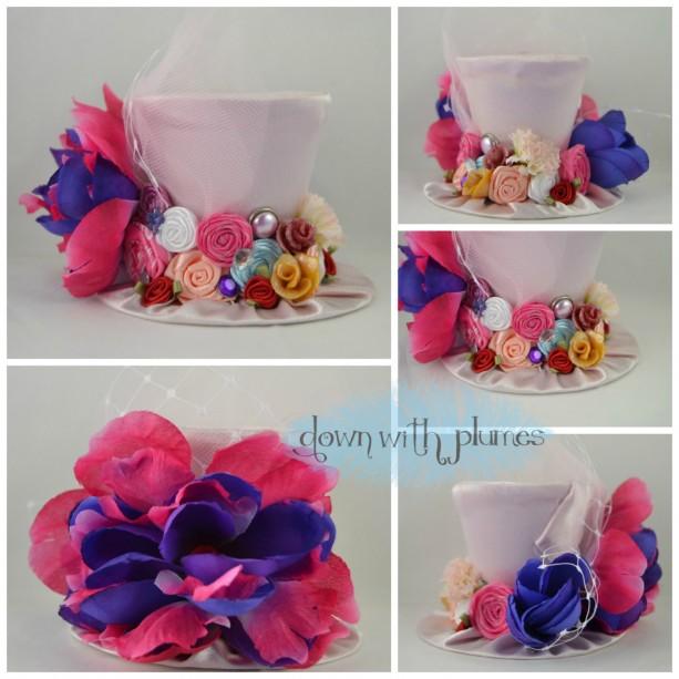 Handmade Tiny Top Hat- Light pink satiny tiny top hat- Garden mini top hat- Tiny top hat with flowers- FREE SHIPPING