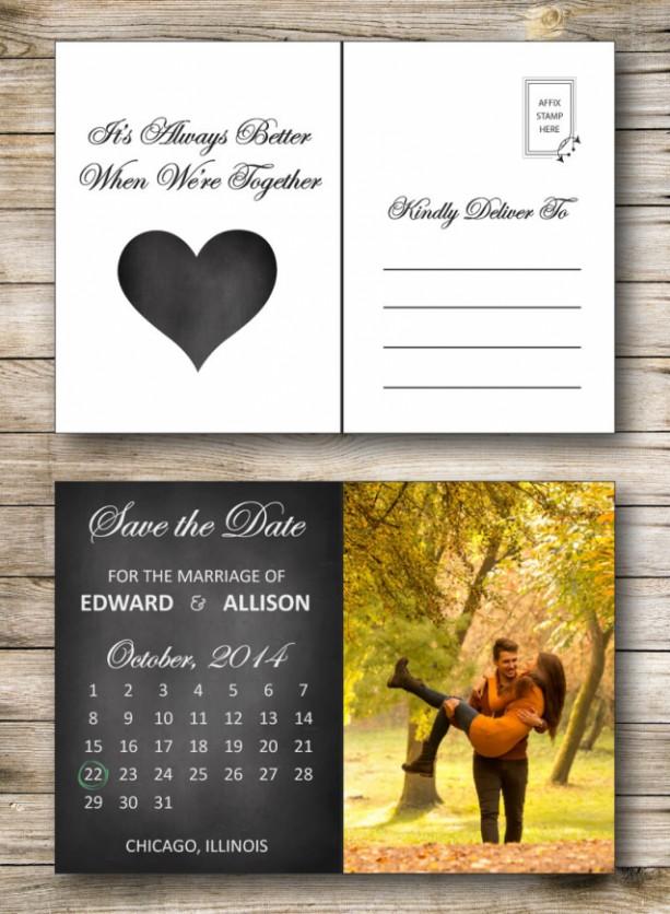 c229141f1e Save the Date Postcard - Printable or Printed - Chalkboard - Cale ...