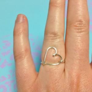 Heart Ring, Silver Heart Ring, Love Ring, Delicate Heart Ring Facing the Right, Open Heart Ring, Wire Heart Ring, Wire Love Ring