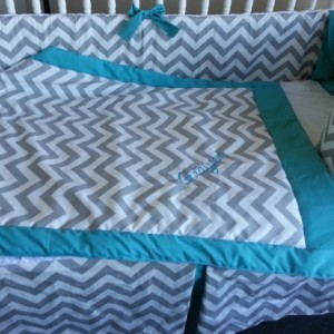 Chevron crib set- 3 piece set- custom made to order-