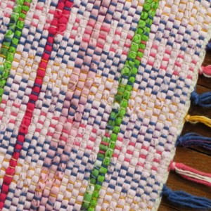 Rag Rug - Pink, lime green, hot pink / Handwoven / Eco-Friendly, upcycled