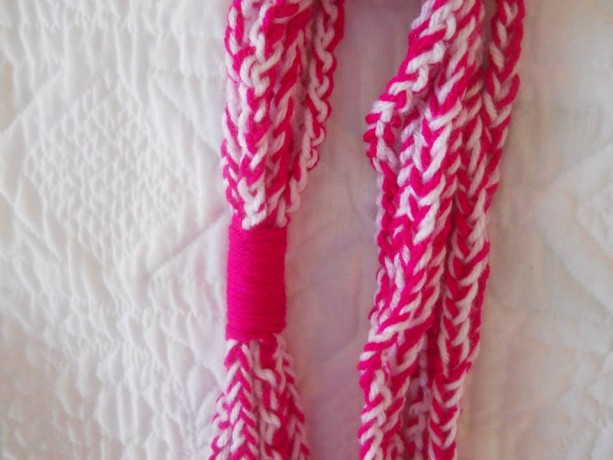 White and Hot Pink Crocheted Necklace - Perfect for Summer or Spring - Great for Teenagers and Young adults - Males a Great Gift