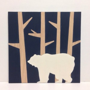 Woodland Animal Nursery Art - Woodland Nursery Art - Bear Art - Woodland Decor - Striped Wood Wall Art - Navy Blue Nursery Decor