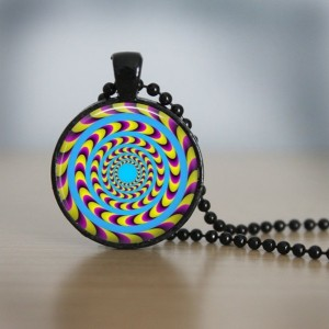 Optical Illusion - Glass Dome Pendant - Colorful Charm - 24 inch Necklace - Groovy Jewelry