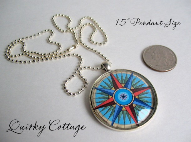 Compass necklace glass dome pendant 24 inch necklace compas compass necklace glass dome pendant 24 inch necklace compass star colorful jewelry aloadofball Gallery