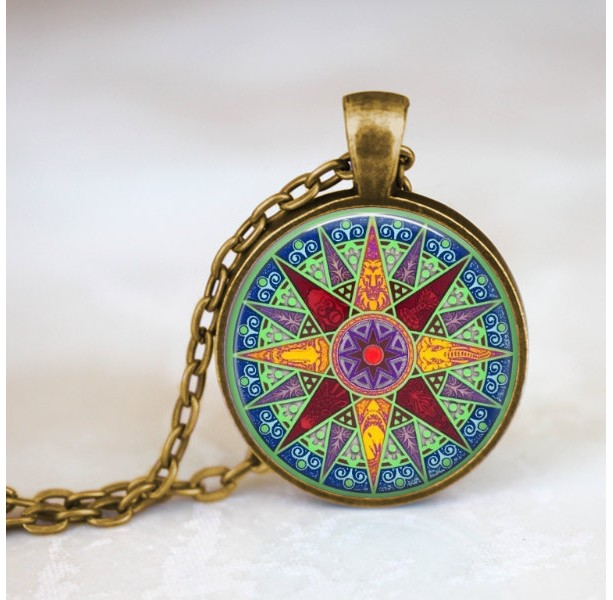 Compass necklace glass dome pendant 24 inch necklace compas compass necklace glass dome pendant 24 inch necklace compass star colorful jewelry aloadofball Image collections