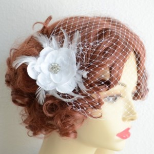 READY TO SHIP, White Birdcage Veil and Flower,Small flower with feathers, Rhinestone, Vintage Veil, Veil and Hair Flower,White birdcage veil