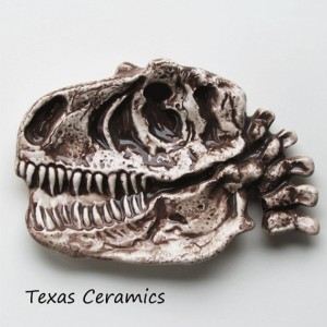 T-Rex Dinosaur Fossil Skull Ceramic Tea Bag Holder Spoon Rest, Desk or Dresser Accessory