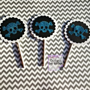 """12 3""""  skull cupcake toppers, pirate party,  white on black, black on white, mixture available"""