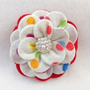Handmade Camellia Felt Polka Dot Flower Hair Clip - 2 Flowers