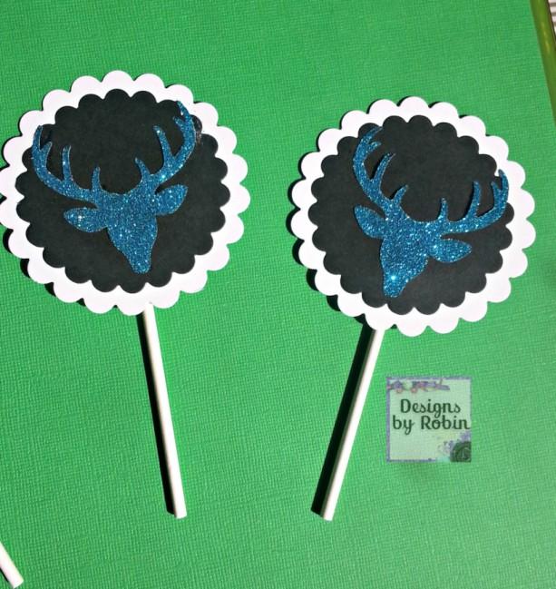 12  cupcake blue glitter deer head  cupcake toppers, black on white., glitter blue deer, boy or girl birthday party