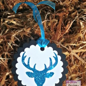 12 blue glitter deer tags, white on black party thank you tags
