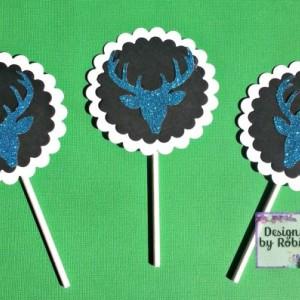 12  cupcake blue glitter deer head  cupcake toppers, white on black, glitter blue deer, boy or girl birthday party